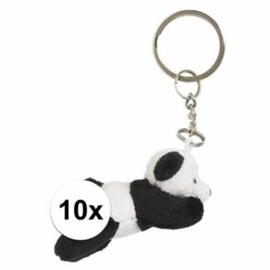 10x pluche panda knuffel sleutelhangers 6 cm