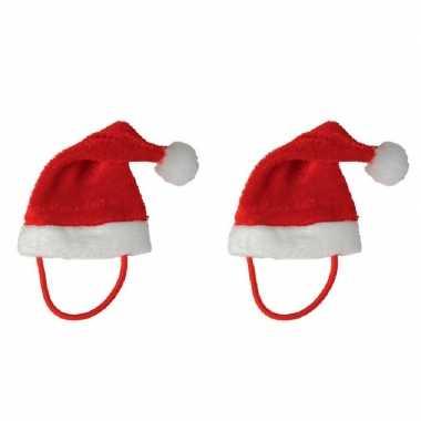 10x stuks mini kerstmutsen met bandje voor knuffels huisdieren