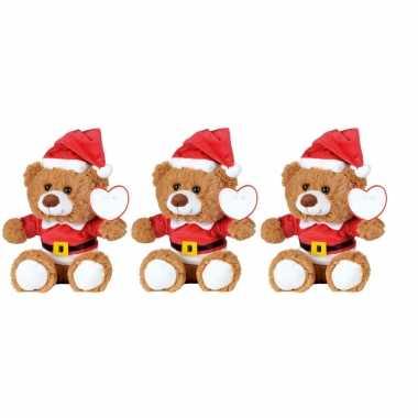 15x kerst knuffel pluche beertjes bruin zittend 18 x 19 cm speelgoed