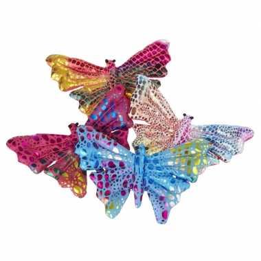 2x gekleurde vlinder knuffeltjes 12 cm