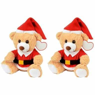 2x kerst knuffel pluche beertjes lichtbruin zittend 20 x 19 cm speelgoed