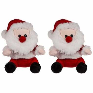 2x kerst knuffels pluche kerstman 20 cm