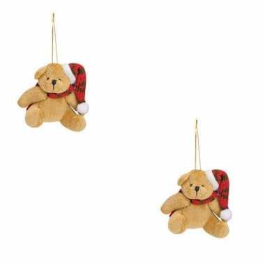 2x kersthangers knuffelbeertjes beige met rode sjaal en muts 7 cm