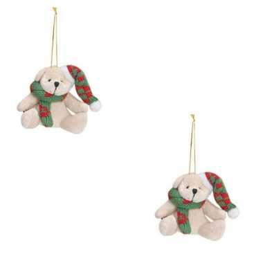 2x kersthangers knuffelbeertjes wit met groene sjaal en muts 7 cm