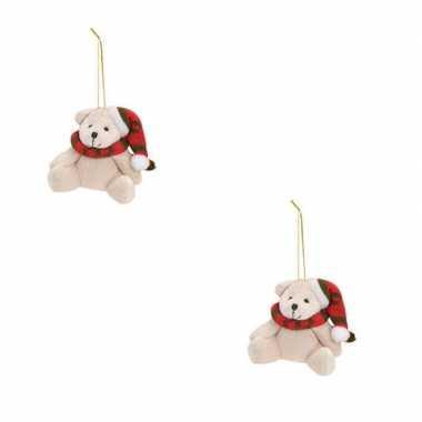 2x kersthangers knuffelbeertjes wit met rode sjaal en muts 7 cm