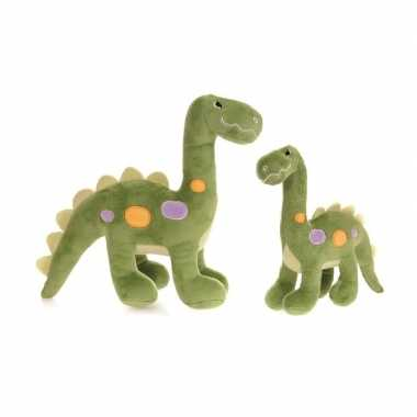 2x pluche dino knuffels 22 en 27 cm speelgoed