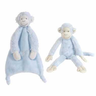 2x stuks happy horse aapjes blauw tuttel en knuffel mickey
