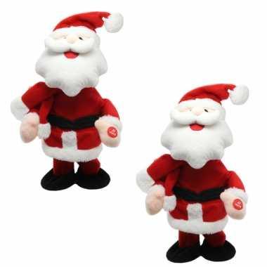 2x stuks kerstman knuffel poppen dansend 30 cm bewegende kerstfiguren/kerstpoppen