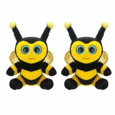 2x stuks pluche bijen knuffel 22 cm