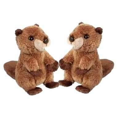 2x stuks pluche bruine bever knuffel 15 cm speelgoed