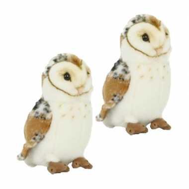2x stuks pluche kerkuil/uilen knuffel 20 cm speelgoed