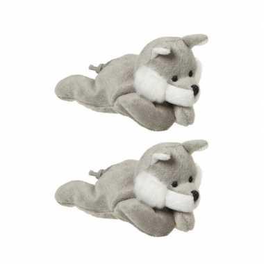 2x stuks pluche knuffel wolf/wolven 13 cm