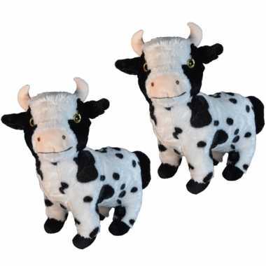 2x stuks pluche koe/koeien knuffel 28 cm speelgoed