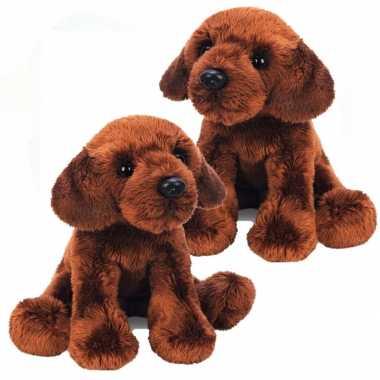 2x stuks pluche labrador knuffel hond bruin 12 cm