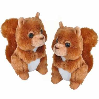 2x stuks pluche rode eekhoorn knuffel 18 cm speelgoed