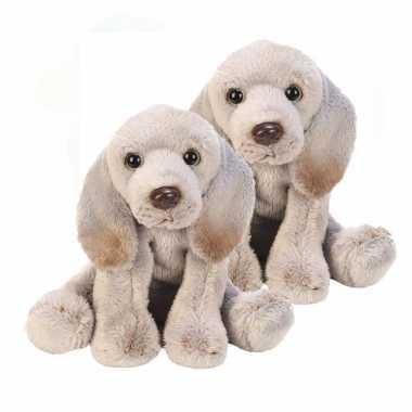 2x stuks pluche weimaraner grijs knuffel hond 13 cm