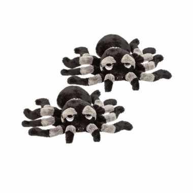 2x stuks pluche zwart/grijze spin knuffel 13 cm speelgoed