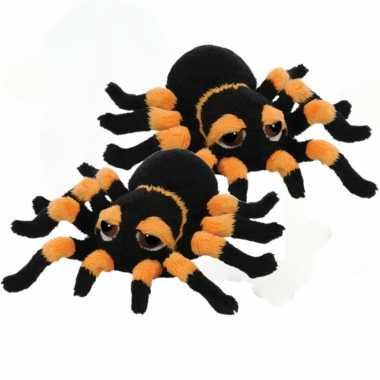 2x stuks pluche zwart/oranje spin knuffel 13 cm speelgoed