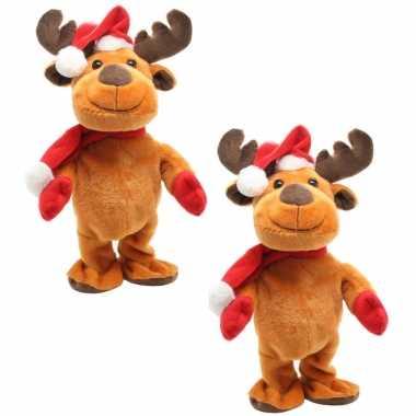 2x stuks rendier pop knuffels dansend 30 cm bewegende kerstfiguren/kerstpoppen