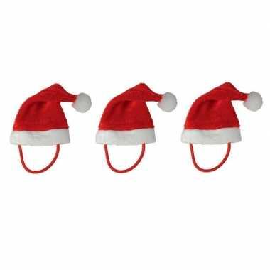 3x mini kerstmutsen met bandje voor knuffels/huisdieren
