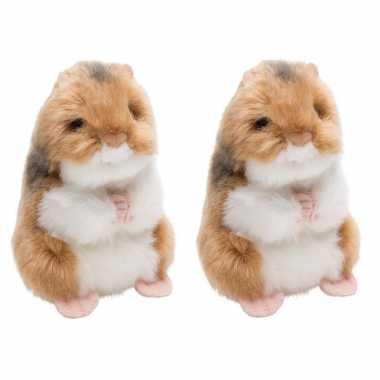 4x stuks pluche bruin/witte hamster knaagdieren knuffel 13 cm speelgoed