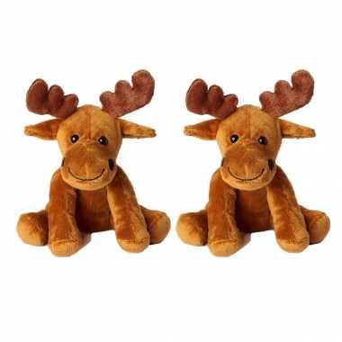 4x stuks pluche bruine eland knuffel 20 cm speelgoed