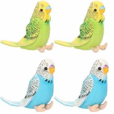 4x stuks pluche knuffel parkieten setje vogels blauw en groen 11 cm