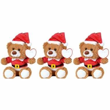8x kerst knuffel pluche beertjes bruin zittend 18 x 19 cm speelgoed