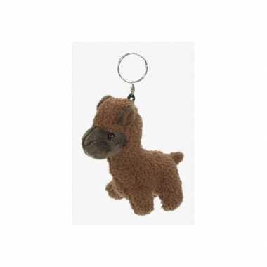 Alpaca knuffel sleutelhanger 12 cm bruin