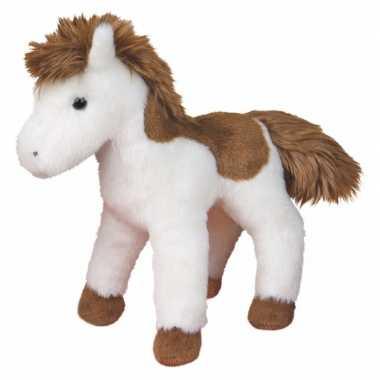 American paint paard knuffel wit/bruin 20 cm