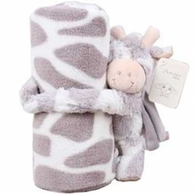 Baby/kinder dekentje met koe/stier knuffel