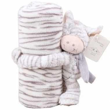 Baby/kinder dekentje met zebra knuffel