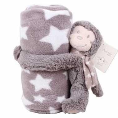 Baby/kinder grijs dekentje met apen knuffel