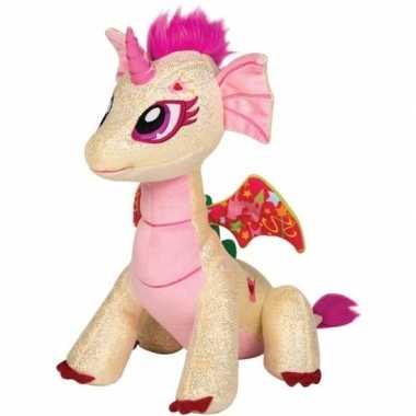 Beige/roze draak knuffel glitter fairy 25 cm