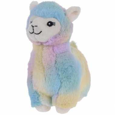 Blauw/geel/paarse pluche alpaca/lama knuffel 19 cm