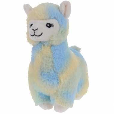 Blauw/gele pluche alpaca/lama knuffel 19 cm