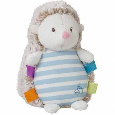 Blauwe pluche egel knuffel 16 cm speelgoed glow in the dark