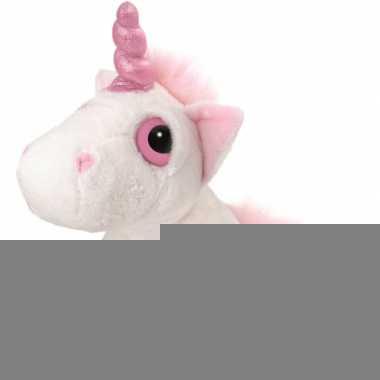 Eenhoorn knuffel wit/roze 30 cm