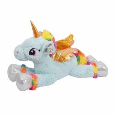 Eenhoorn/unicorn knuffel xxl lichtblauw 81 cm