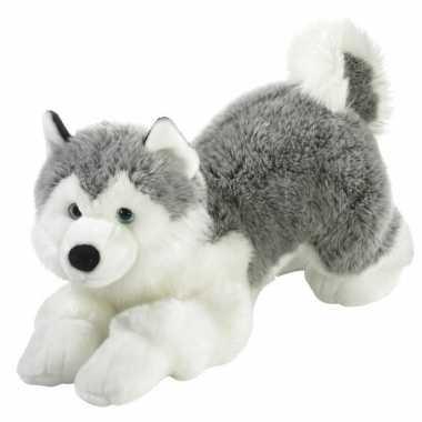Grijs/witte pluche husky hond knuffel 60 cm
