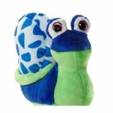 Groen met blauwe pluche slak knuffel 16 cm
