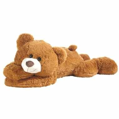 Grote liggende beer knuffel lichtbruin 120 cm