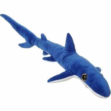 Grote pluche blauwe haai knuffel 110 cm speelgoed