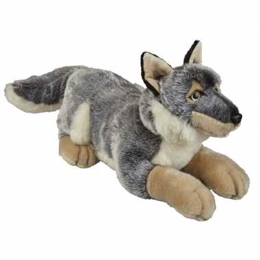 Grote pluche grijze wolf/wolven knuffel 50 cm speelgoed