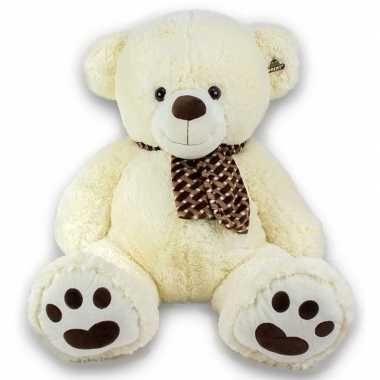 Grote pluche knuffel beer creme met sjaal 105 cm