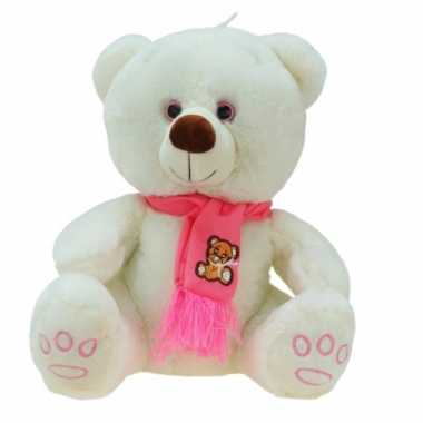 Grote pluche knuffelbeer wolly creme roze 100 cm