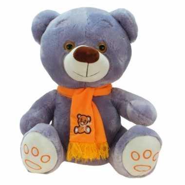 Grote pluche knuffelbeer wolly grijs oranje 100 cm