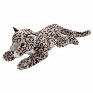 Grote pluche liggende sneeuw luipaard knuffel 60 cm speelgoed