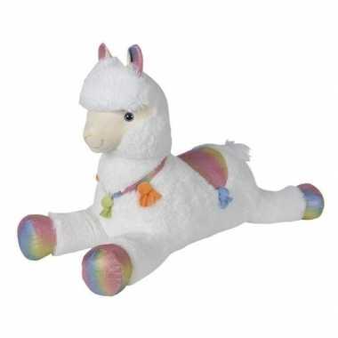 Grote pluche witte alpaca/lama knuffel 80 cm speelgoed