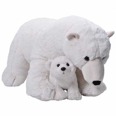 Grote pluche witte ijsbeer met welpje knuffel 76 cm speelgoed